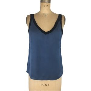 6X2 Silky Slate Blue and Black Camisole Size M